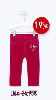 Pantalon en velours milleraies doublé