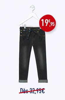 Jean 5 poches slim noir délavé