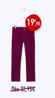 Pantalon 5 poches en velours stretch