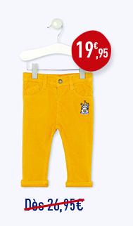 Pantalon velours milleraies doublé jersey